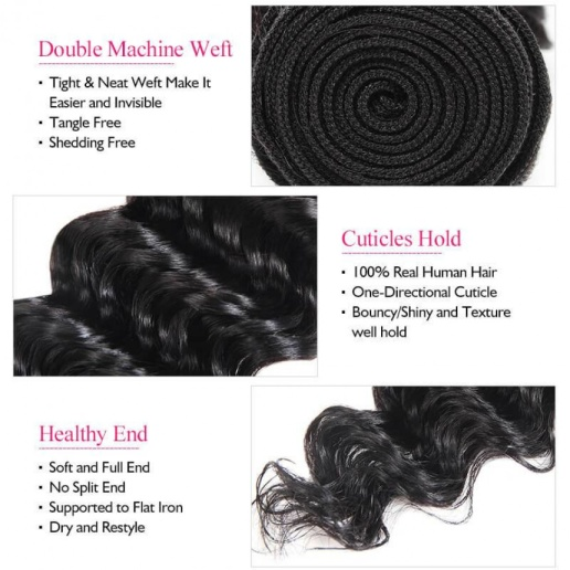 Deep Wave 3 Bundles Ishow Virgin Peruvian Human Hair Extensions