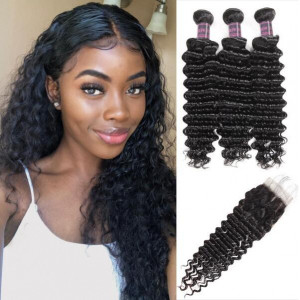 Peruvian Deep Wave Hair 3 Bundles With Lace Closure Peruvian Human Hair Extensions