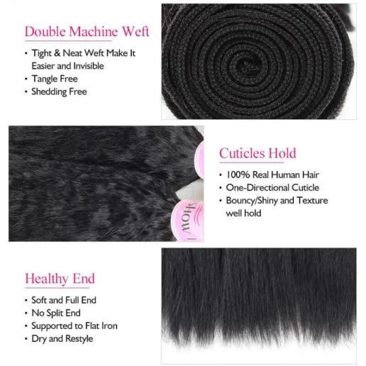 100% Peruvian Remy Human Hair Weave Yaki Straight Human Hair 3 Bundles