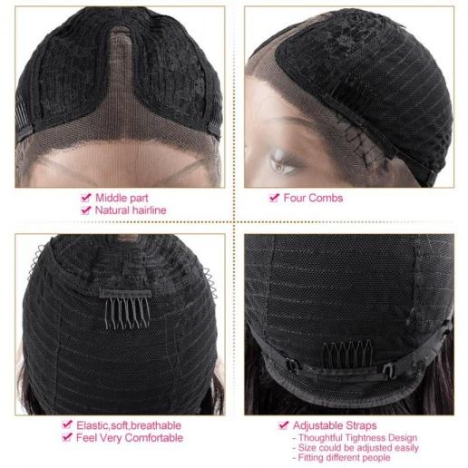 Straight Short Bob Wigs Malaysian Human Hair Middle Part Lace Closure Bob Wig