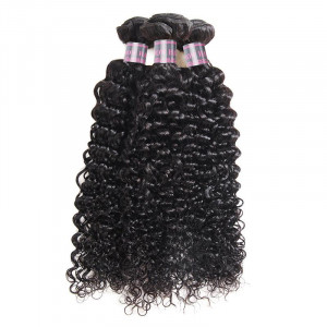 Virgin Indian Curly 3 Bundles Human Hair Weave