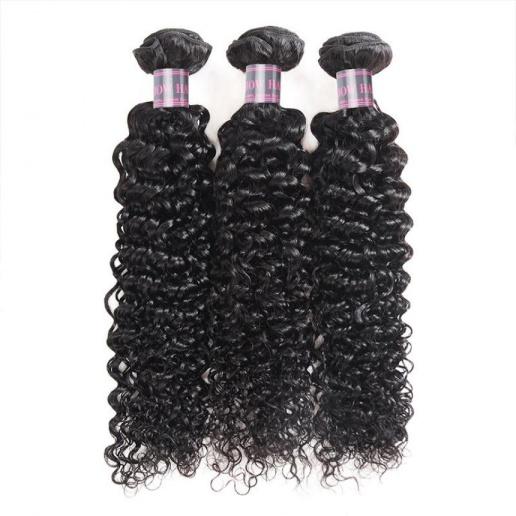 Virgin Mongolian 3 Bundles Curly Hair Remy Human Hair Weave