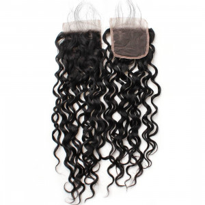 Water Wave Virgin Remy Human Hair Extensions 4x4 Lace Closure Ishow Human Hair Bundle Free Shipping Middle Part Swiss Lace