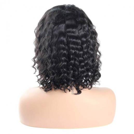 Brazilian Good Short Bob Deep Wave Weave Lace Front Human Hair Wigs