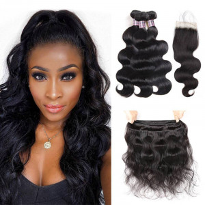 indian hair body wave 3 bundles with lace closure