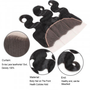 indian hair body wave 3 bundles with lace frontal