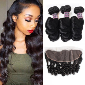 indian hair loose wave 3 bundles with lace frontal
