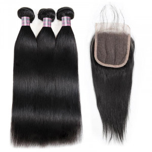 indian hair straight 3 bundles with lace closure
