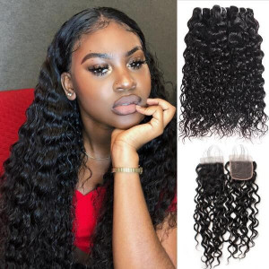 indian hair water wave 3 bundles with 4x4 lace closure