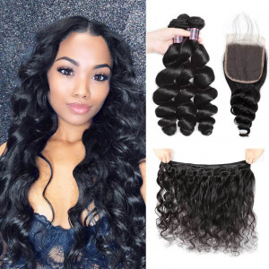 indian loose wave hair 3 bundles with 4 4 lace closure