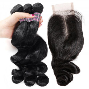 loose wave virgin human hair weave 3 bundles with 2 4 lace closure with baby hair