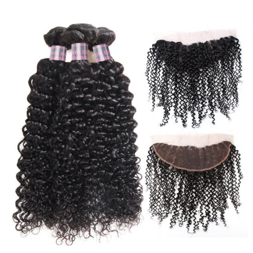 Curly Hair Frontal Malaysian Weave Hair 3 Bundles with 13*4 Lace Frontal