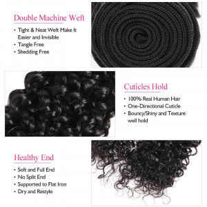 malaysain curly hair 3 bundles with lace frontal
