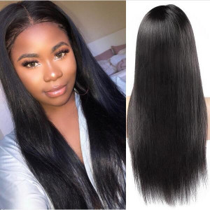 Malaysian 360 Lace Front Straight Pre-Plucked Virgin Human Hair Wigs