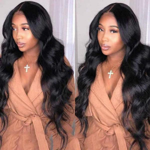 malaysian body wave virgin human hair wigs 360 lace front wig