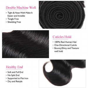 malaysian hair body wave 3 bundles with lace closure