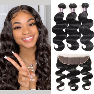 malaysian hair body wave 3 bundles with lace frontal