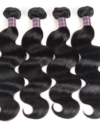 100% Virgin Malaysian Body Wave Hair 4 Bundles Ishow Human Hair Extensions Natural Color