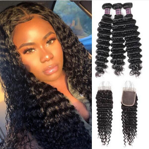 malaysian hair deep wave 3 bundles with lace closure