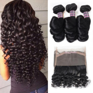 malaysian hair loose wave 3 bundles with 360 lace frontal
