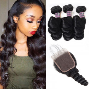 malaysian hair loose wave 3 bundles with lace closure