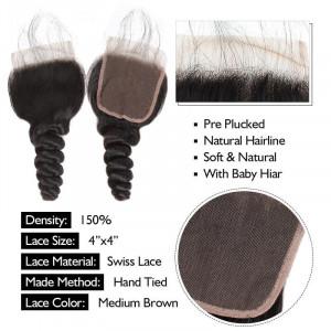 malaysian hair loose wave 3 bundles with lace closure