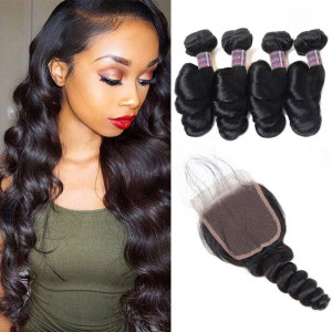 malaysian hair loose wave 4 bundles with lace closure