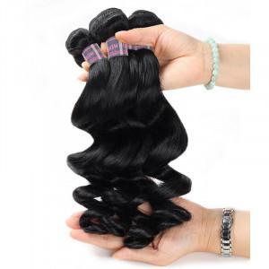 malaysian hair loose wave 4 bundles with lace closure