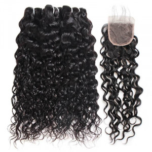 malaysian hair water wave 3 bundles with lace closure
