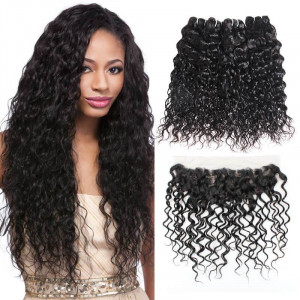 malaysian hair water wave 4 bundles with 4x13 lace frontal