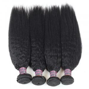 Malaysian Remy Virgin Human Hair Yaki Straight Hair Weave 4 Bundles