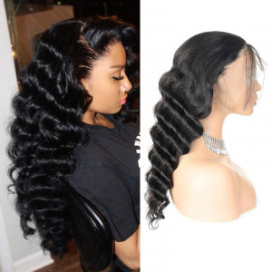 malaysian lace front hair wigs loose deep wave virgin remy human hair wig