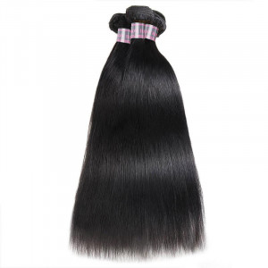 malaysian straight hair weave 3 bundles with 4x4 lace closure