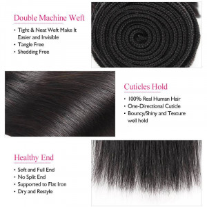 Malaysian Virgin Remy Straight Human Hair Weave 3 Bundles