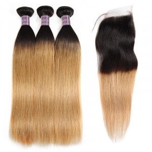 Ombre Hair Bundles With Closure 100% Virgin Remy Human Hair Straight 3 Bundles With 4x4 Lace Closure