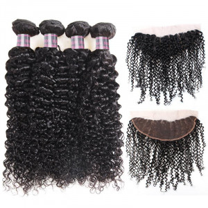 Peruvian Curly Remy Human Hair 4 Bundles With 13*4 Lace Frontal Closure 100% Human Hair Bundles Weave