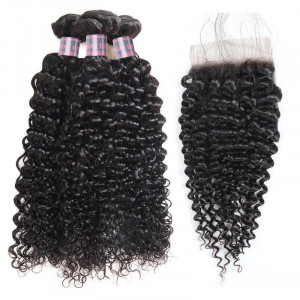 Virgin Peruvian Curly Hair 3 Bundles with 4x4 Lace Closure Human Hair Extensions