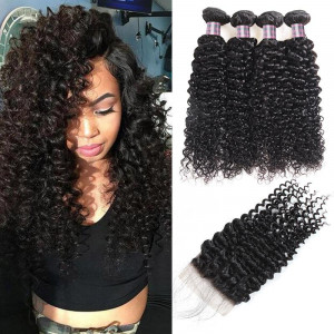 Virgin Peruvian Curly Human Hair 4 Bundles with 4*4 Lace Closure