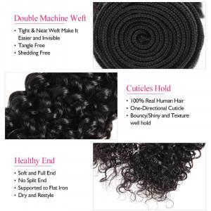 Virgin Peruvian Curly Human Hair 4 Bundles with 4*4 Lace Closure