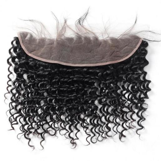 Virgin Peruvian Deep Wave Hair 4 Bundles With 13*4 Lace Frontal