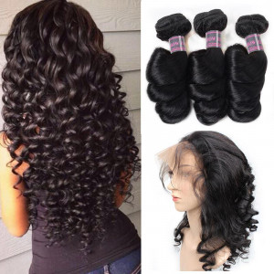 Peruvian Loose Wave Hair 3 Bundles With 360 Lace Frontal Ishow Human Hair Bundles