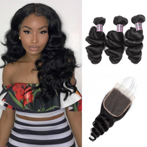Virgin Peruvian Loose Wave 3 Bundles with 4*4 Lace Closure Hair Deals