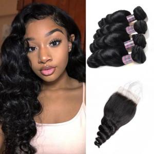Peruvian Loose Wave Hair 4 Bundles With 4*4 Lace Closure Virgin Human Hair