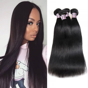 Virgin Peruvian Straight Hair 4 Bundles Human Hair Weave