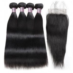 Virgin Peruvian Straight Human Hair 4 Bundles With Lace Closure