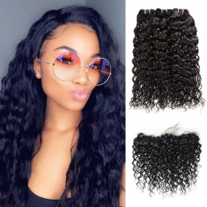 Peruvian Water Wave Ear to Ear Lace Frontal with 3 Bundles Hair Extensions 100% Remy Virgin Human Hair Bundles