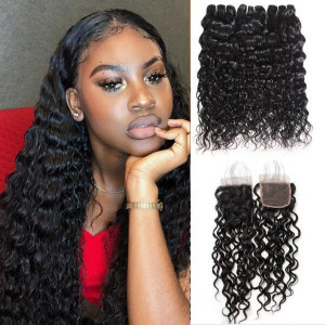 Peruvian Hair Water Wave 3 Bundles With Lace Closure