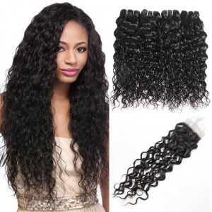 Peruvian Water Wave Hair Weave 4 Bundles With Free Part Lace Closure Remy Human Hair Extensions Natural Color Hair Bundles