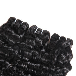 Peruvian Water Wave Hair Weave 4 Bundles With Lace Closure Free Part Remy Human Hair Extensions Natural Color Hair Bundles