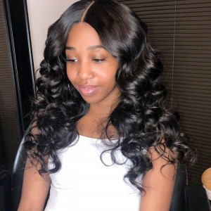 Virgin Peruvian Loose Wave 3 Bundles with 13*4 Ear To Ear Lace Frontal Closure